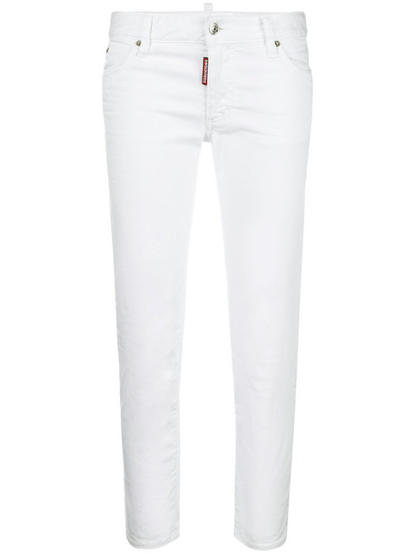 Dsquared2 jeans cropped women spandex white cotton