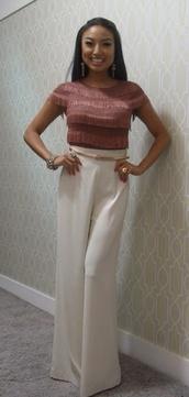 pants,high waisted pants,palazzo pants,jeannie mai,blouse
