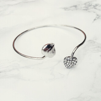 jewels silver heart jewled bangle bracelets silver hearts diamonds