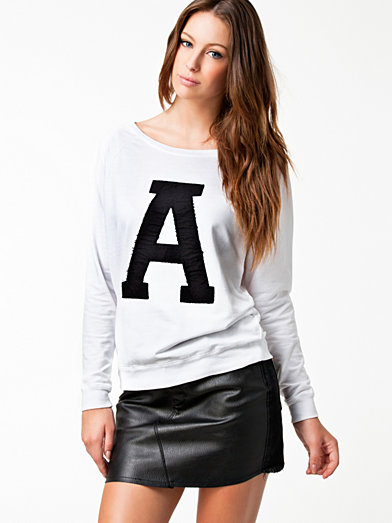 Print Ls College Sweat - River Island - White - Jumpers & Cardigans - Clothing - Women - Nelly.com Uk