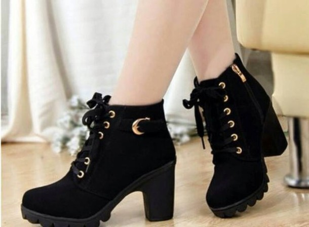 shoes winter boots black boots black shoe boots heeled black boots