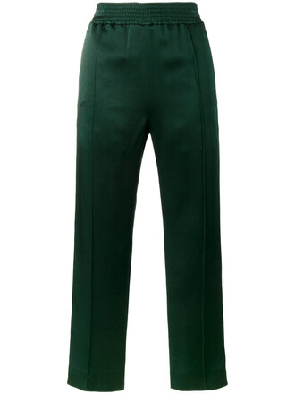 pants track pants women cotton green satin