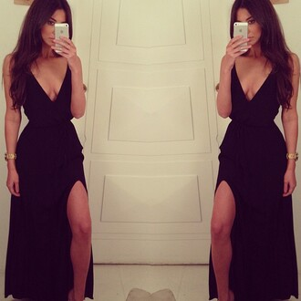 dress little black dress slit vneck black maxi dress maxi black black leg slit low v