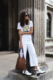 bag,tumblr,brown bag,handbag,pants,denim culottes,culottes,t-shirt,white t-shirt,boots,white boots,cut-out ankle boots,sunglasses