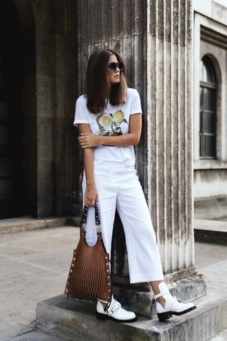bag tumblr brown bag handbag pants denim culottes culottes t-shirt white t-shirt boots white boots cut-out ankle boots sunglasses