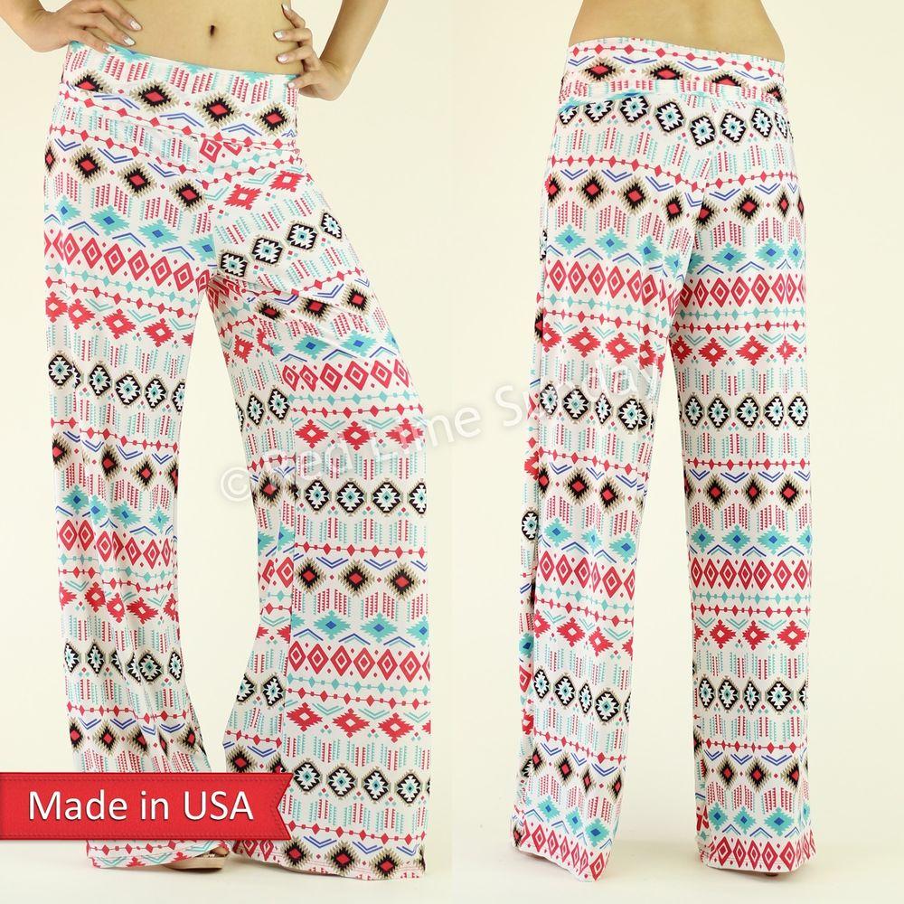 Women White Pop Color Aztec Print Fold Over Wide Leg Palazzo Pants Bottoms USA