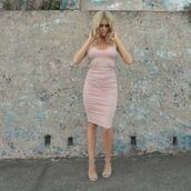 dress,rosebullet,nude,neutral,rose,low cut,fashion,new trend,2015 new trends,bodycon dress,bandage dress,nude dress,ruched dress,dusty pink