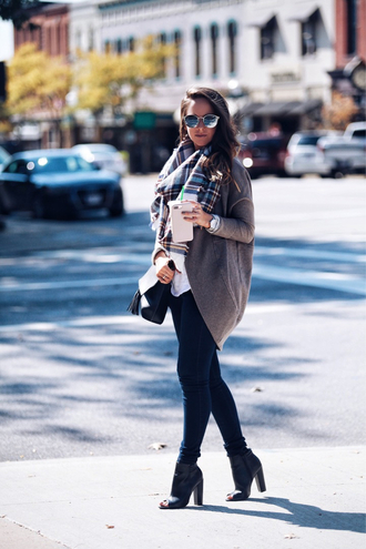 fashionably kay blogger sweater scarf jeans shoes bag sunglasses cardigan tartan scarf fall outfits ankle boots peep toe boots