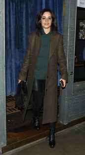 coat,sweater,pants,camila cabello,fall outfits,streetstyle