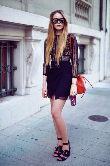 bag red bag shoes red black sunglasses sandals high heels summer outfits classy kayture lace dress black lace dress little black dress strappy sandals bracelets tara jarmon gucci