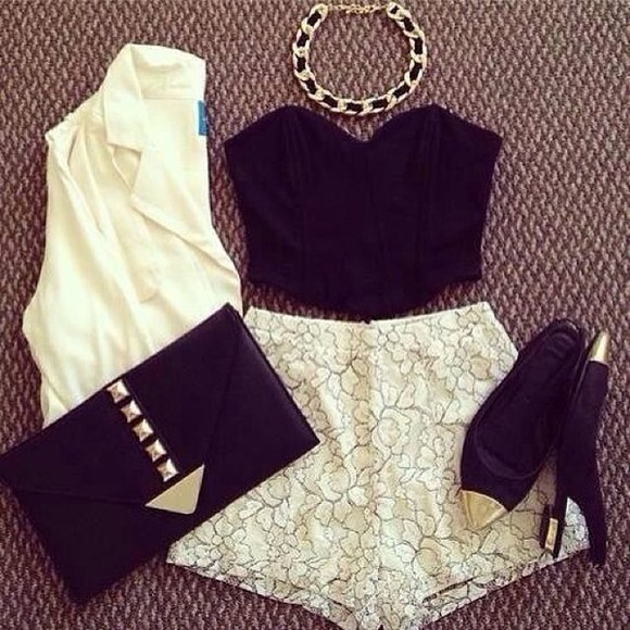 shorts black lace blouse black top white white shorts cartigan necklace wallet bag jacket shoes jewels