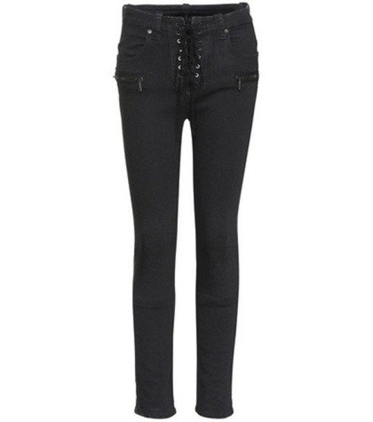 Unravel Lace-up skinny jeans in black