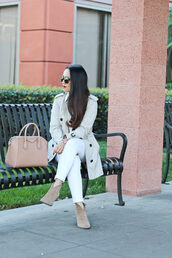 stylish petite,blogger,coat,sweater,shoes,bag,jewels,make-up,trench coat,nude bag,givenchy bag,ankle boots,white jeans