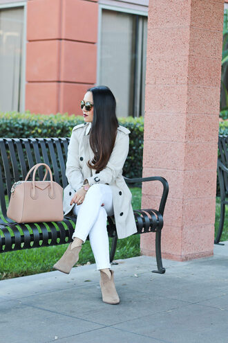 stylish petite blogger coat sweater shoes bag jewels make-up trench coat nude bag givenchy bag ankle boots white jeans
