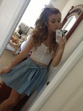 crop tops,polka dots,blue skirt,top,skirt,bow,shirt,cute,white,acacia brinley,tank top,skater skirt