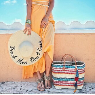 hat customized beach hat sun hat straw hat summer customized beach bag striped bag straw bag dress maxi dress yellow dress sandals flat sandals gold sandals jewels bracelets summer accessories