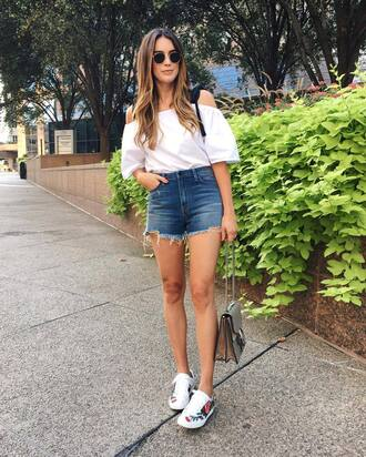 shoes thrifts and threads gucci ace sneakers gucci gucci shoes sneakers low top sneakers white sneakers floral sneakers shorts denim shorts blue shorts top white top off the shoulder off the shoulder top summer outfits casual chic bag gucci bag dionysus sunglasses blogger