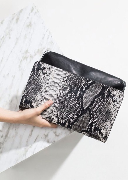 bag black grey snake snake print
