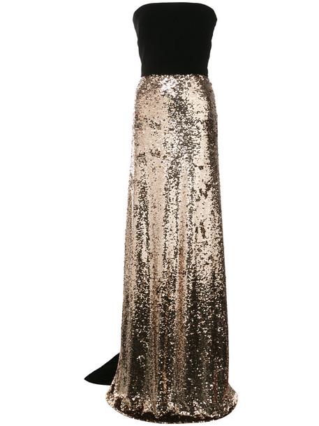 Monique Lhuillier dress strapless sheer women silk grey metallic