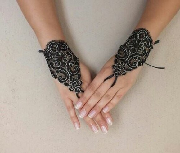 accessories gloves black hand jewelry lace up
