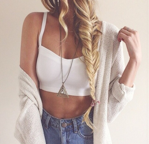 necklace cardigan summer croptop t-shirt jeans