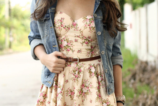 Dress: floral, bustier dress, brown belt, denim jacket, flowers ...