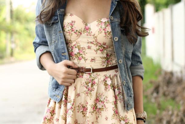Dress Floral Bustier Dress Brown Belt Denim Jacket Flowers Cute Dress Skater Dress