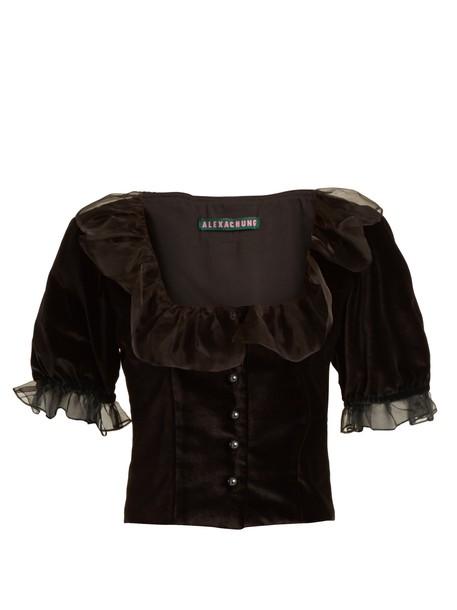 ALEXACHUNG top cropped ruffle velvet black