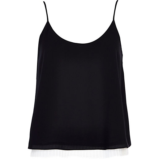 97ca479ad65a7 Black and white pleated hem cami top - cami   sleeveless tops - tops ...