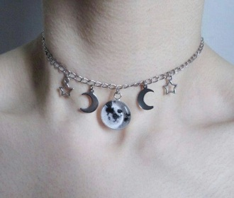 jewels moon necklace grunge pale