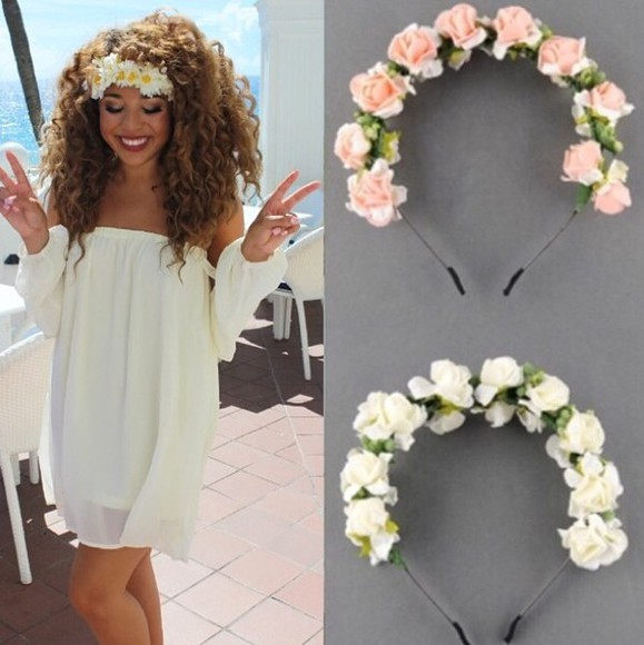 headband hair accessories floral accessories floral garland