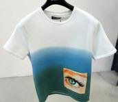 shirt,t-shirt,pockets,eye,gradient,blue,green,urban clothes white blue eye patch