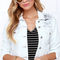 Glamorous too blessed to be distressed white denim jacket