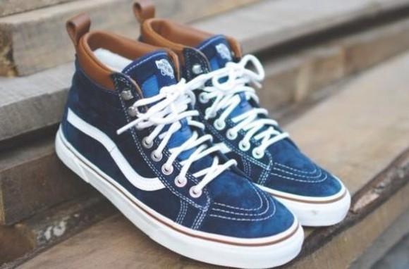 shoes vans denim sk8-hi vans of the wall high top sneaker