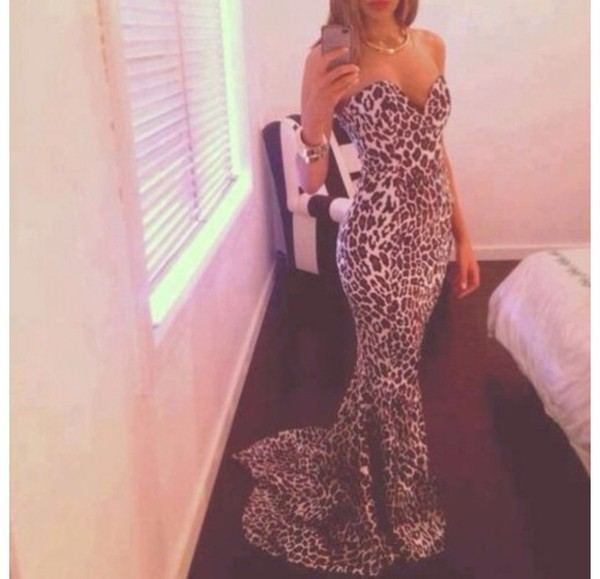 dress classy dress leopard print gown evening dress