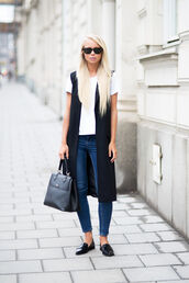 victoria tornegren,blogger,jeans,loafers,vest,handbag,black leather bag,white t-shirt,smoking slippers,french girl style,black loafers