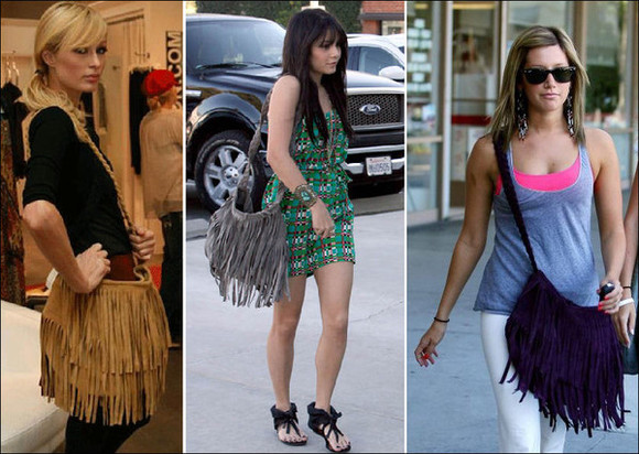 paris hilton vanessa hudgens ashley tisdale fringed bag grey bag purple bag camel bag beige bag brown bag leather bag