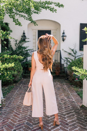 jumpsuit,tumblr,pink jumpsuit,cropped jumpsuit,bag,pink bag,shoes,sandals,sandal heels,high heel sandals