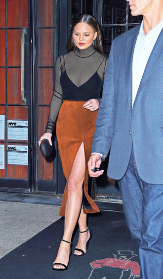 skirt top model off-duty chrissy teigen sandals see through turtleneck suede skirt suede blouse mesh mesh top