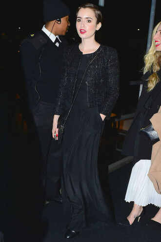 dress black dress jacket lily collins all black everything gown maxi dress
