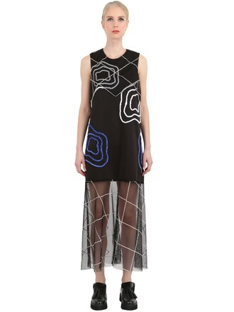 dress embroidered dress embroidered neoprene black