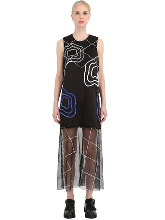 dress embroidered dress embroidered neoprene black