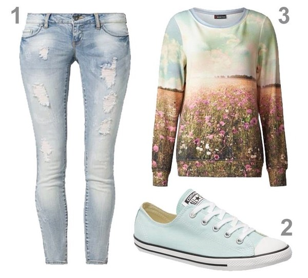 sweater flowers pullover sky printed sweater pants