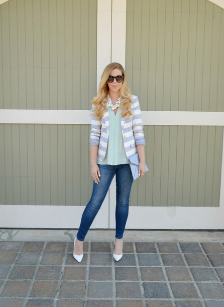 fash boulevard blogger stripes blazer necklace printed blazer blouse mint skinny jeans blue jeans jeans denim pumps pointed toe pumps high heel pumps white heels high heels sunglasses work outfits