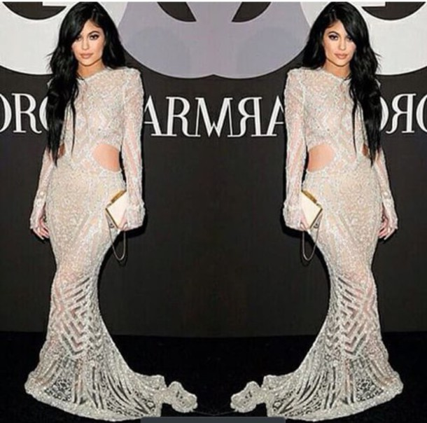dress kylie jenner dress sparkly dress white sheer dress gown
