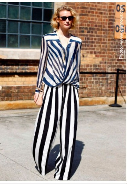 pants wide leg thick strip black and white or navy and whitete