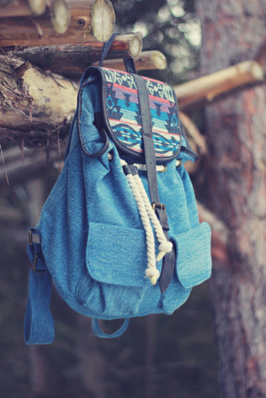 native american blue hipster aztec bag backpack sac jeans denim beach festival