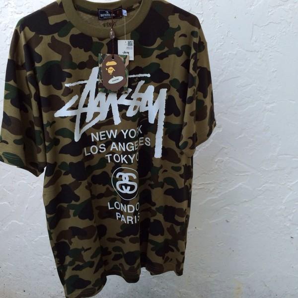 t-shirt shirt stüssy bape