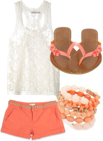shorts white top orange shorts sandals tank top white coral spring belt brown cute small shoes flip-flops jewels beads