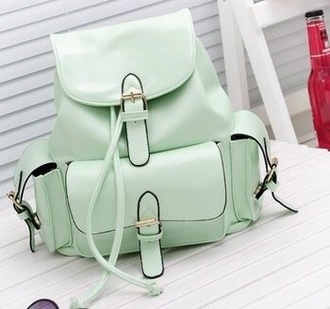 bag casual college mint green backpack